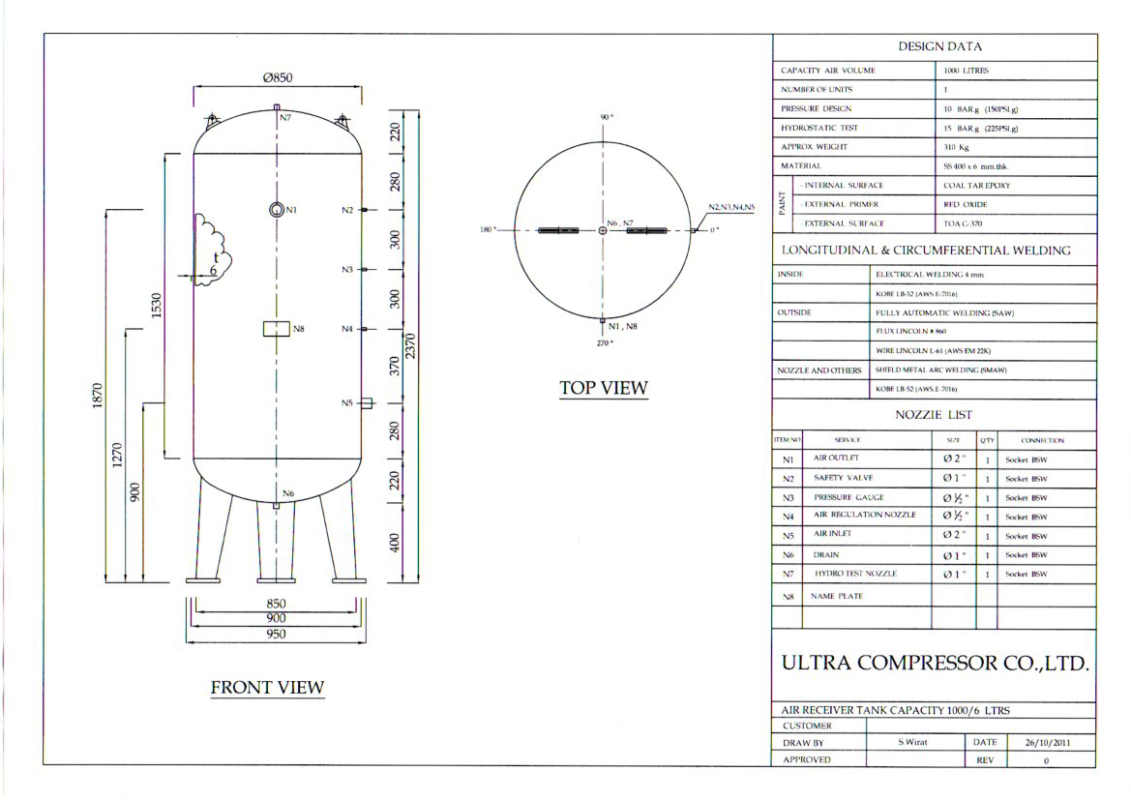 Air Receiver Tank 1000L Specification