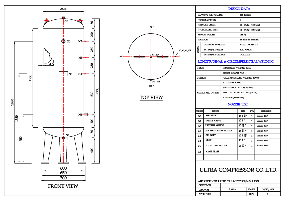 Air Receiver Tank 500L Specification